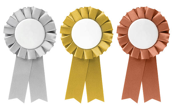 Three ribbon awards in silver, gold, and bronze Set of ribbons / awards in Gold, Silver & Bronze. insignia stock pictures, royalty-free photos & images