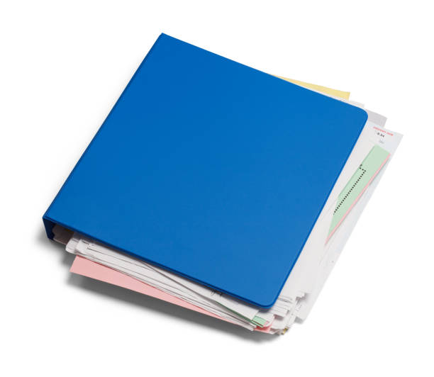 Three Ring Binder Blue Binder with Messy Papers Isolated on White Background. ring binder stock pictures, royalty-free photos & images