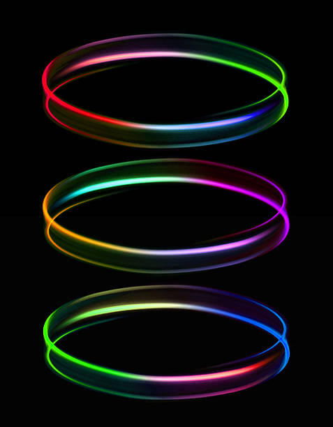 Three rings of light stock photo