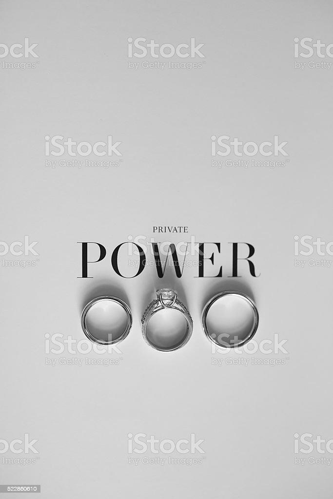 Three rings on a white background with the words stock photo