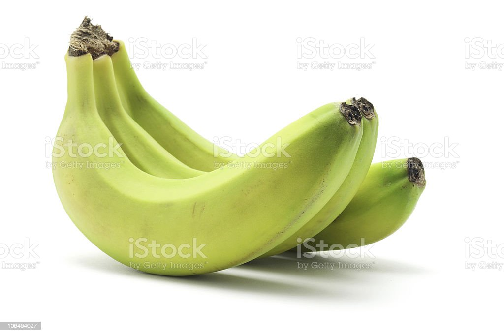 Three ripe bananas on a white background stock photo