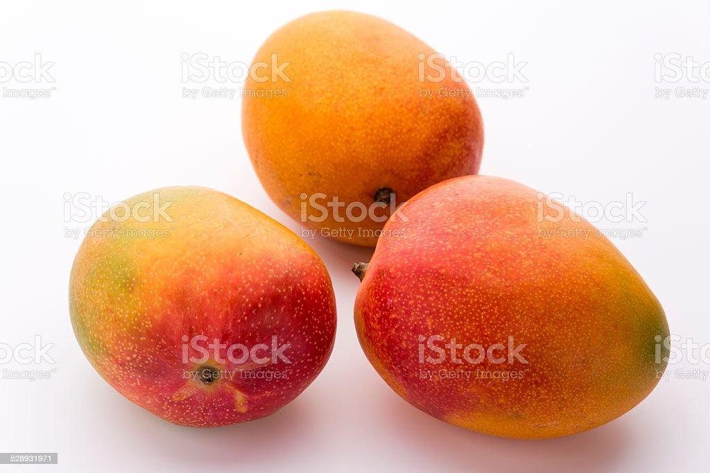 Three Ripe Mangos With Impeccable Skin On White stock photo