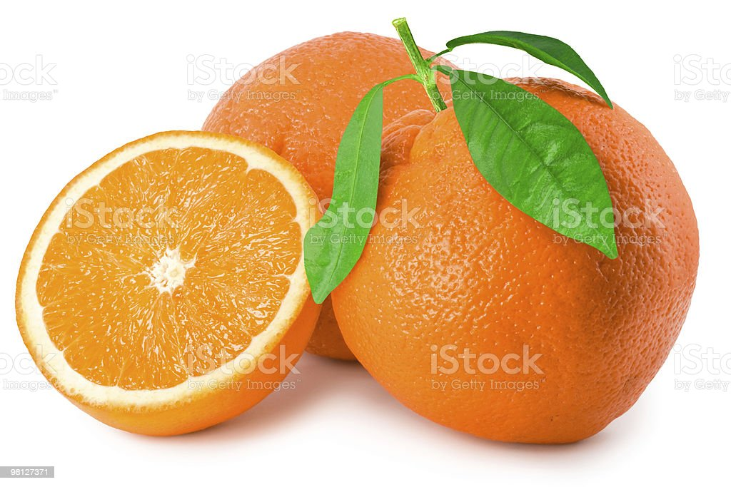 Three ripe oranges on white royalty-free stock photo