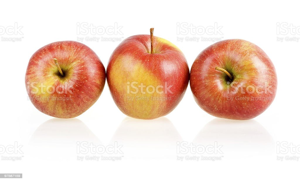 Three Ripe Red Apples Isolated royalty-free stock photo