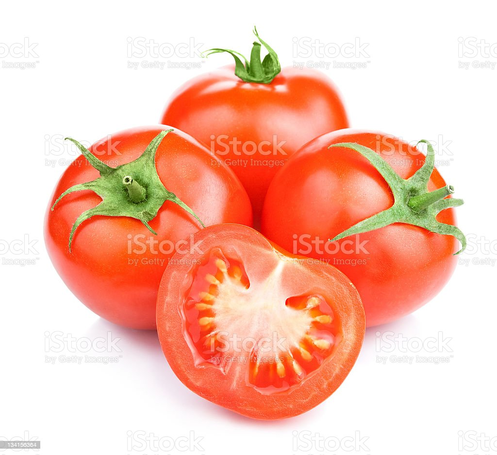 Three Ripe Tomatoes and its half Isolated White Background royalty-free stock photo
