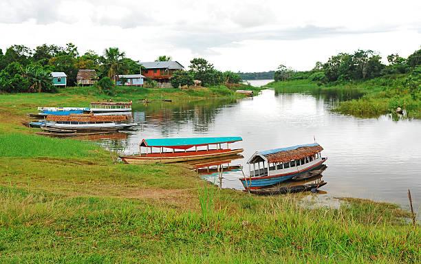 Three river boats stock photo