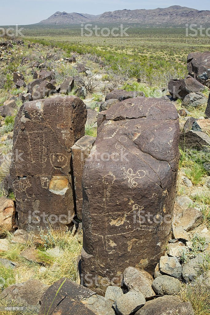 Three Rivers Petroglyph Site - New Mexico, USA royalty-free stock photo