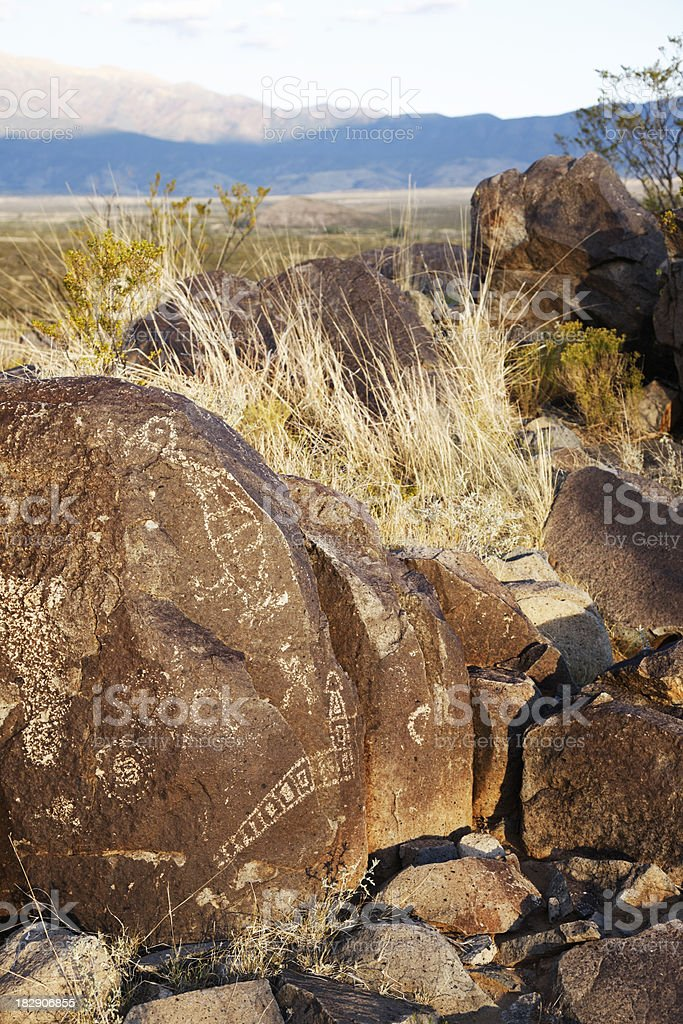 Three Rivers Petroglyphs, New Mexico, USA royalty-free stock photo