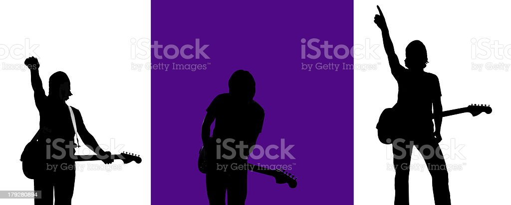Three Rock and Roll Silhouettes royalty-free stock photo