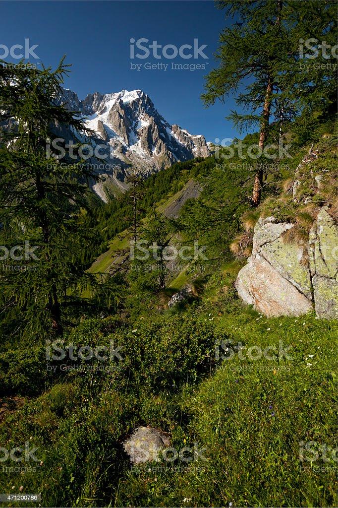 Three Rocks, Grandes Jorasses, Mont Blanc Massif, Italy stock photo