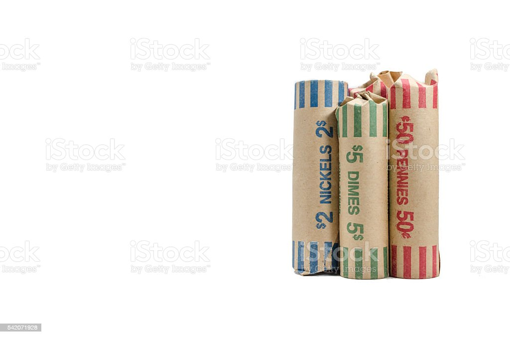 Three rolls of money change wrapped in container stock photo