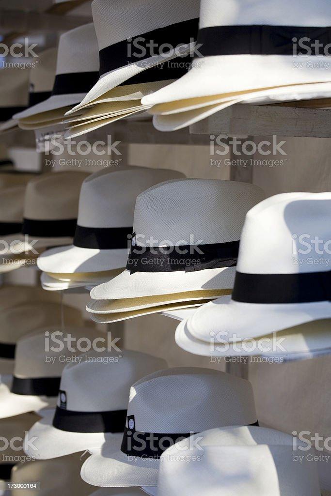 Three Rows of Hats with Black Ribbon royalty-free stock photo