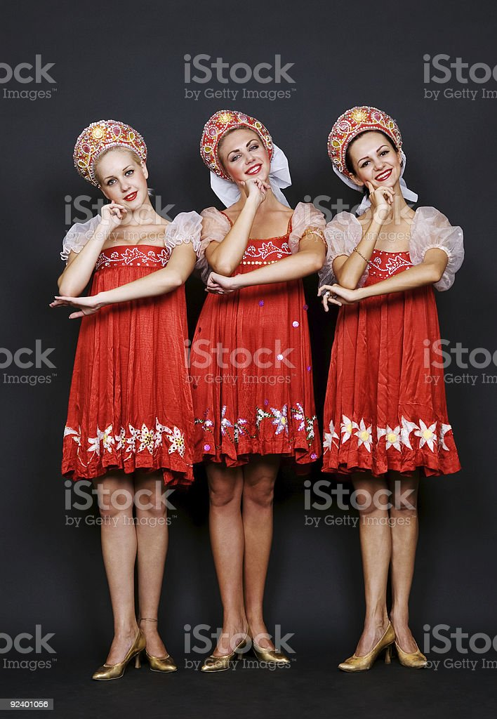 three russian beauties royalty-free stock photo