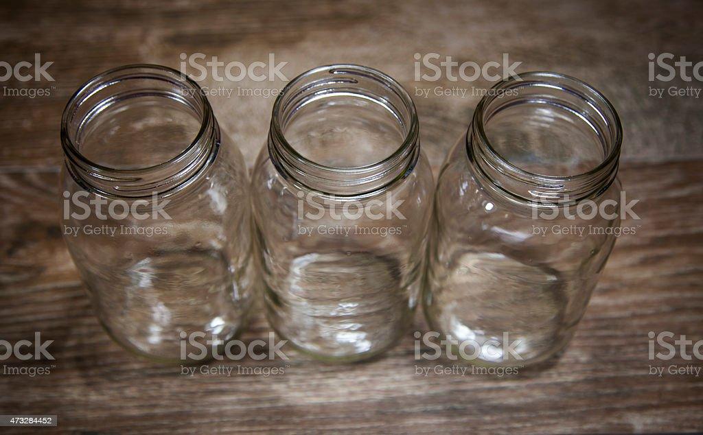 Three Rustic Mason Americana Jars stock photo