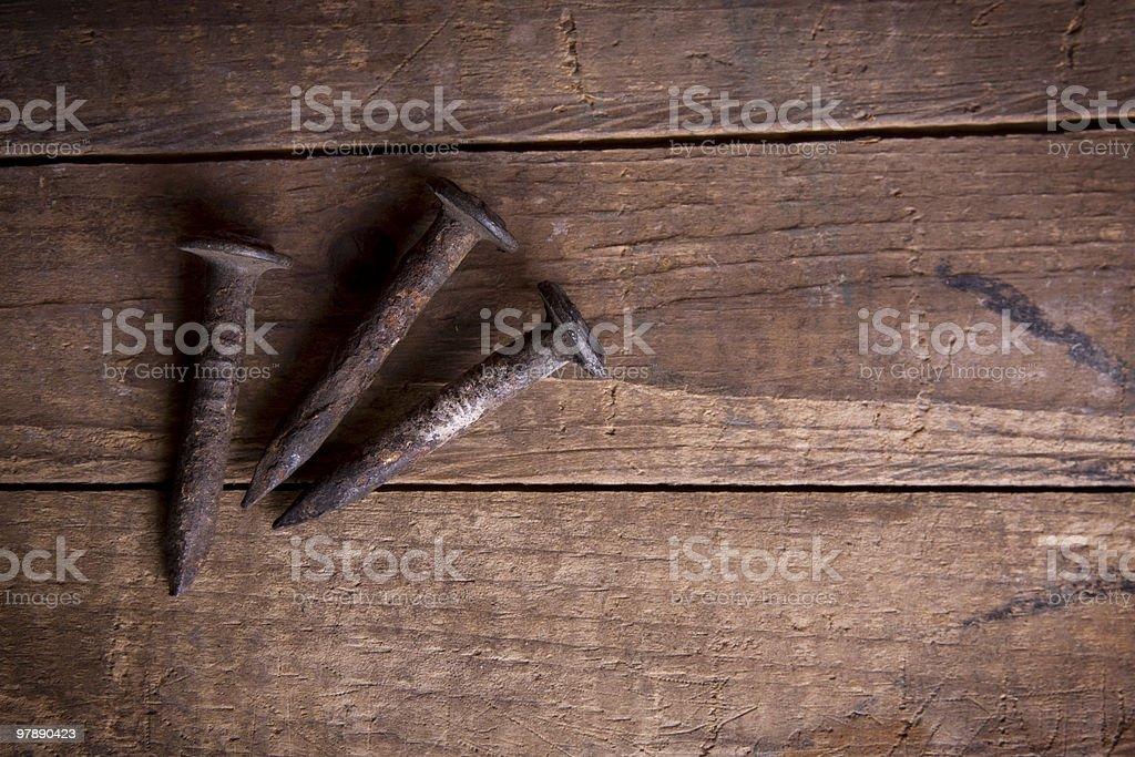 Three Rusty Nails royalty-free stock photo