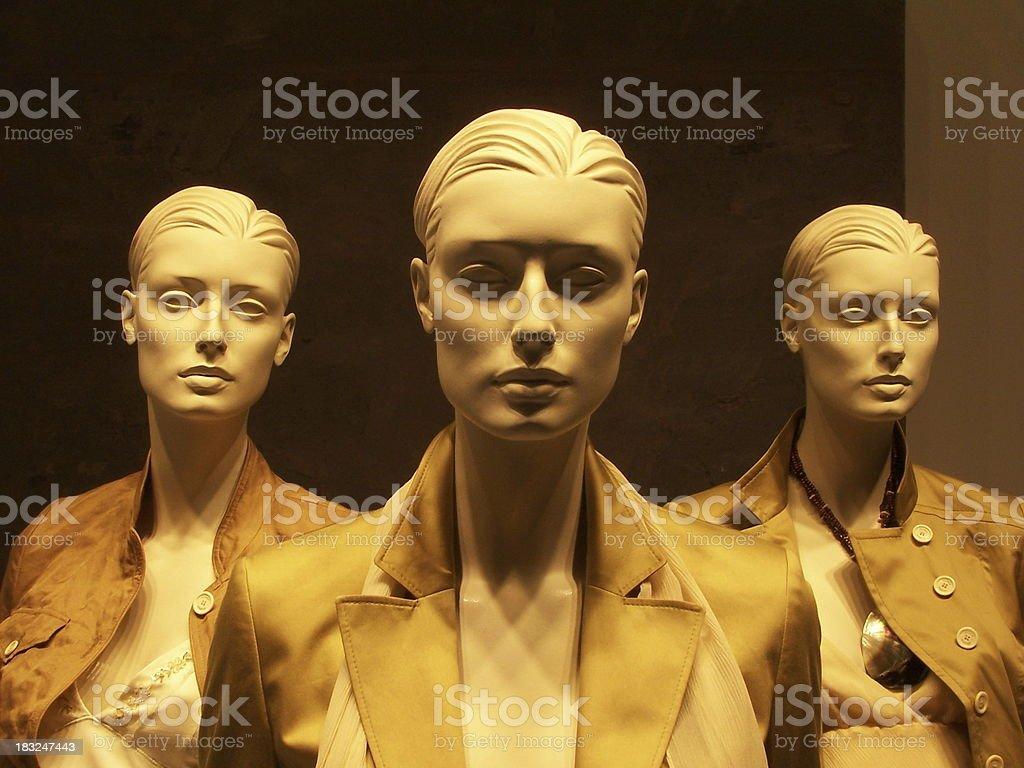 Three same dummy sisters royalty-free stock photo