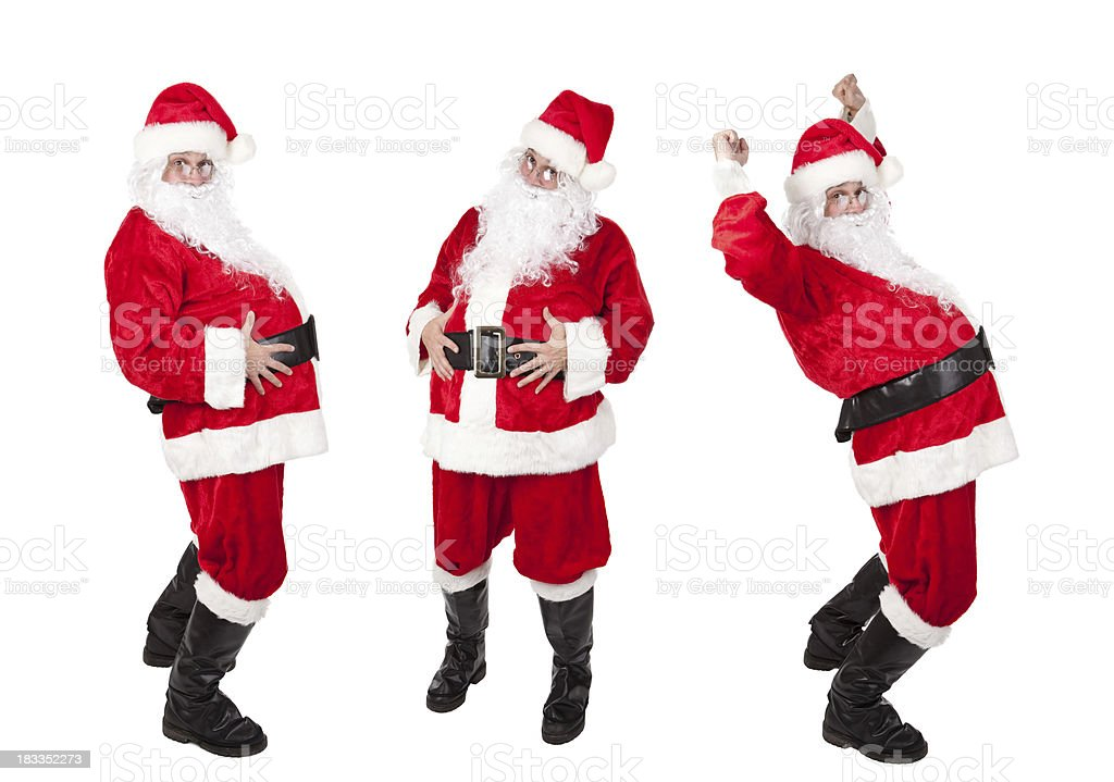 Three Santa Clauses In Different Poses royalty-free stock photo