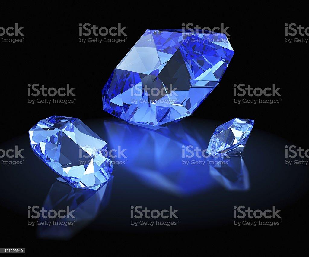 Three sapphires. Mazarin  facet royalty-free stock photo