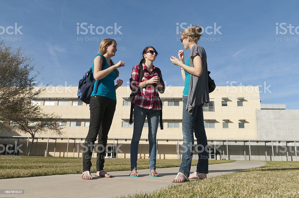Three School Girls ASL stock photo
