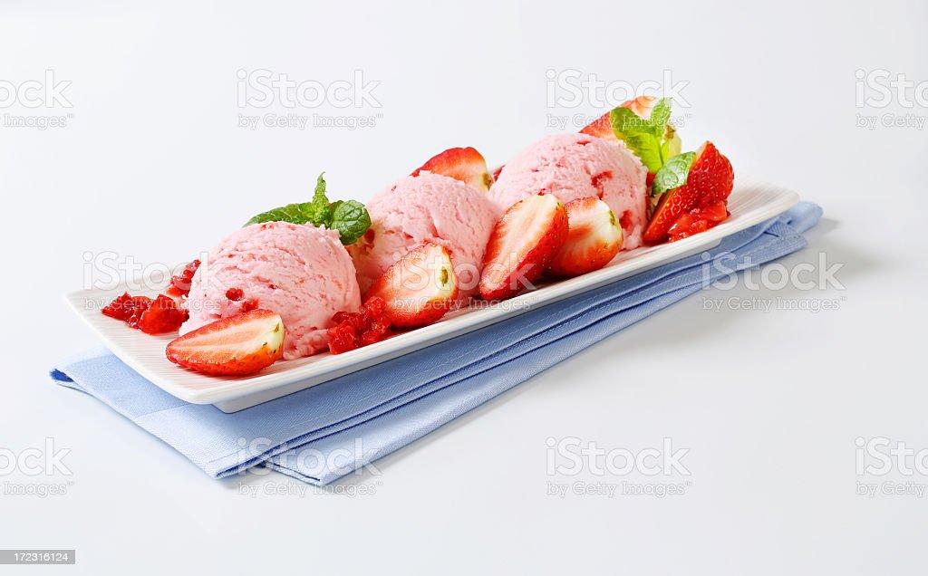 Three scoops of strawberry ice cream royalty-free stock photo