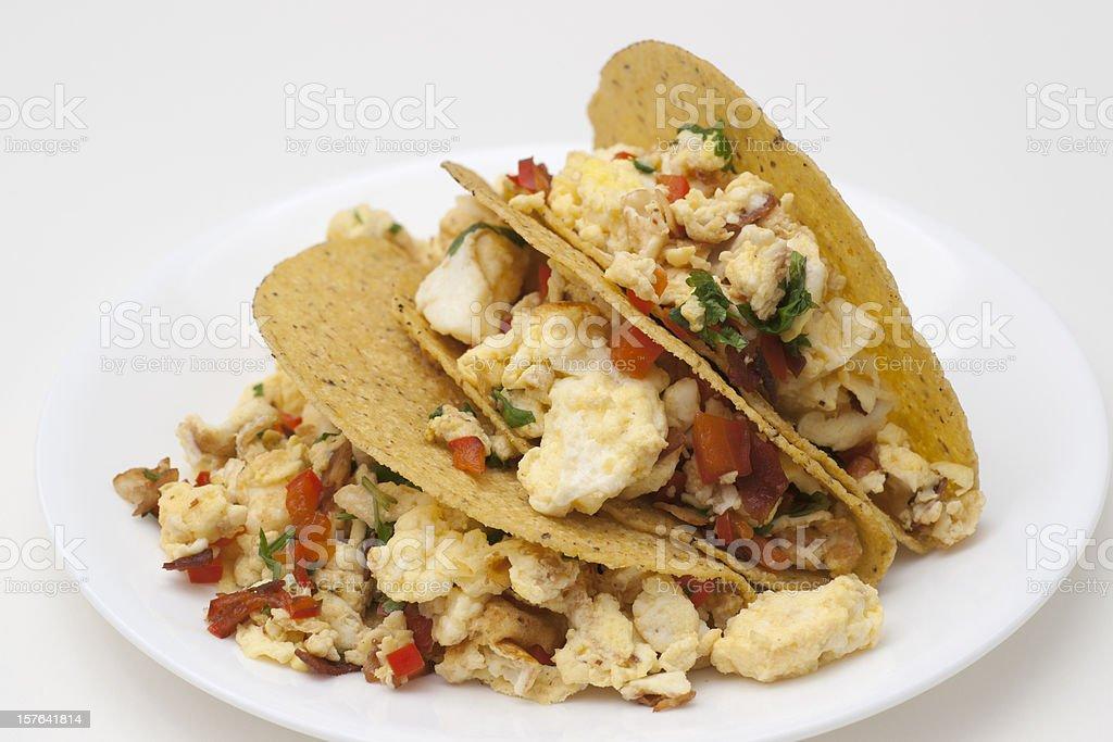 three scrambled egg tacos stock photo