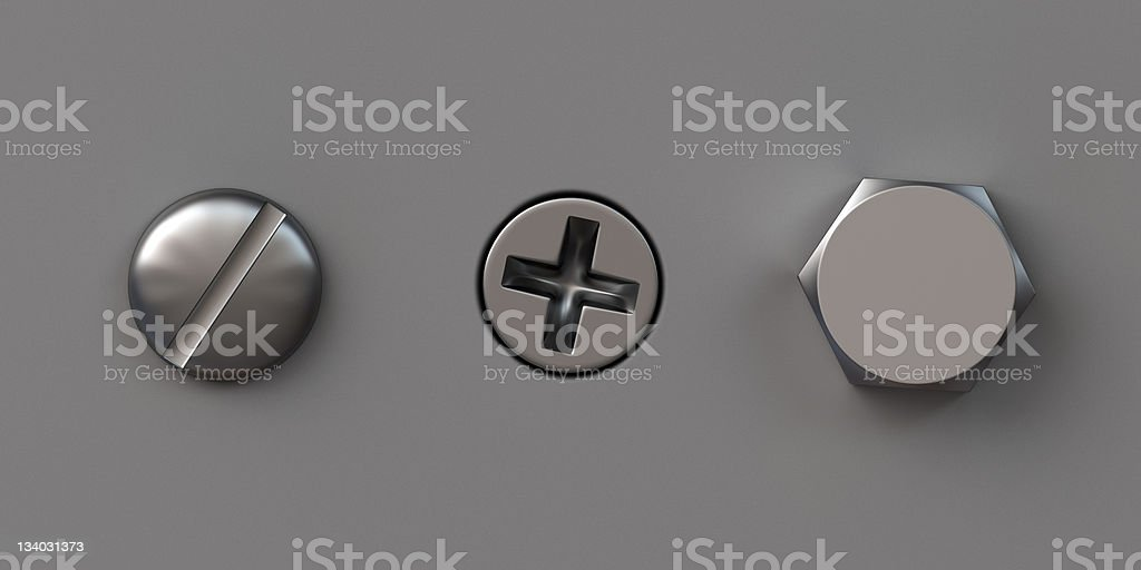 Three screw caps stock photo