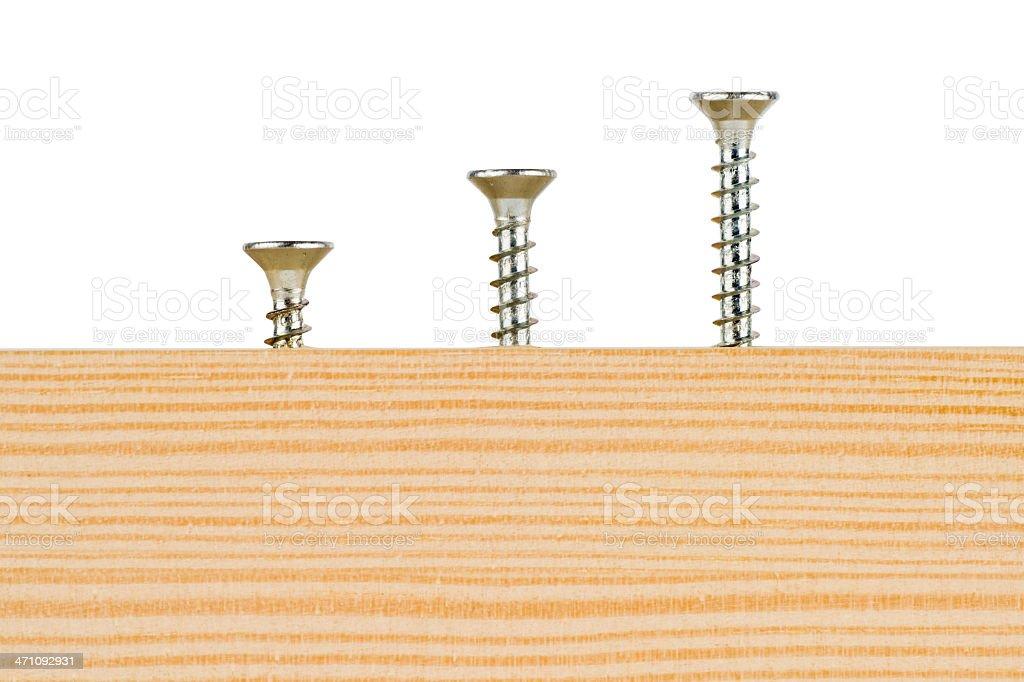 Three screws stock photo