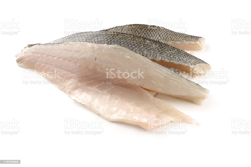 Three sea bass fillet stock photo