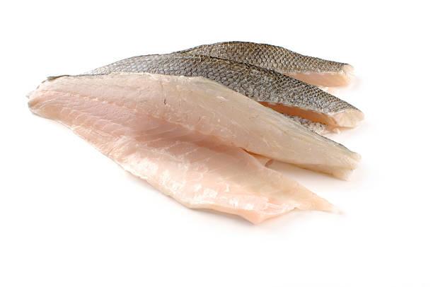 filete três perca-do-mar - cortado em filete imagens e fotografias de stock