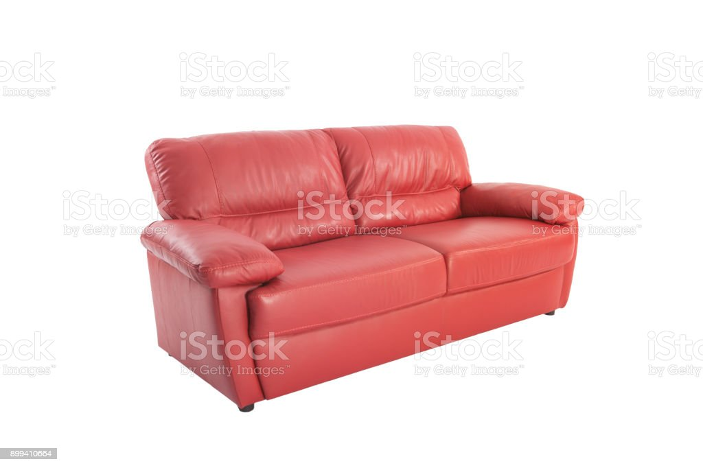 Picture of: Three Seats Cozy Red Leather Sofa Isolated On White Background Stock Photo Download Image Now Istock