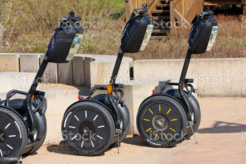 Three Segways royalty-free stock photo