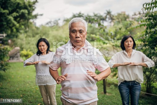 istock Three senior friends exercising in park together 1176743951