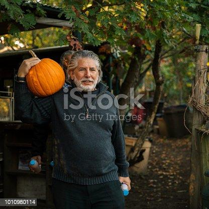 81711567 istock photo Three senior friends picking pumpkins at Pumpkin Patch 1010980114