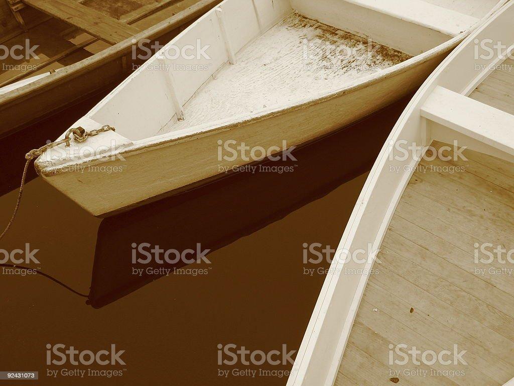 Three Sepia Rowboats royalty-free stock photo
