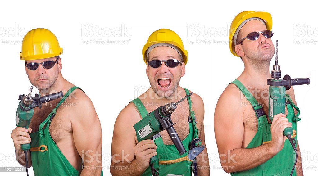 three serviceman with hand drill royalty-free stock photo
