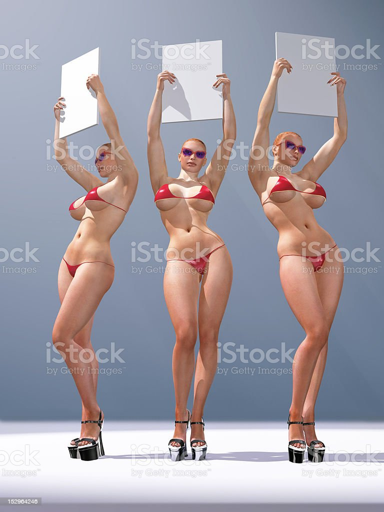 three sexy woman holding blank billboards stock photo
