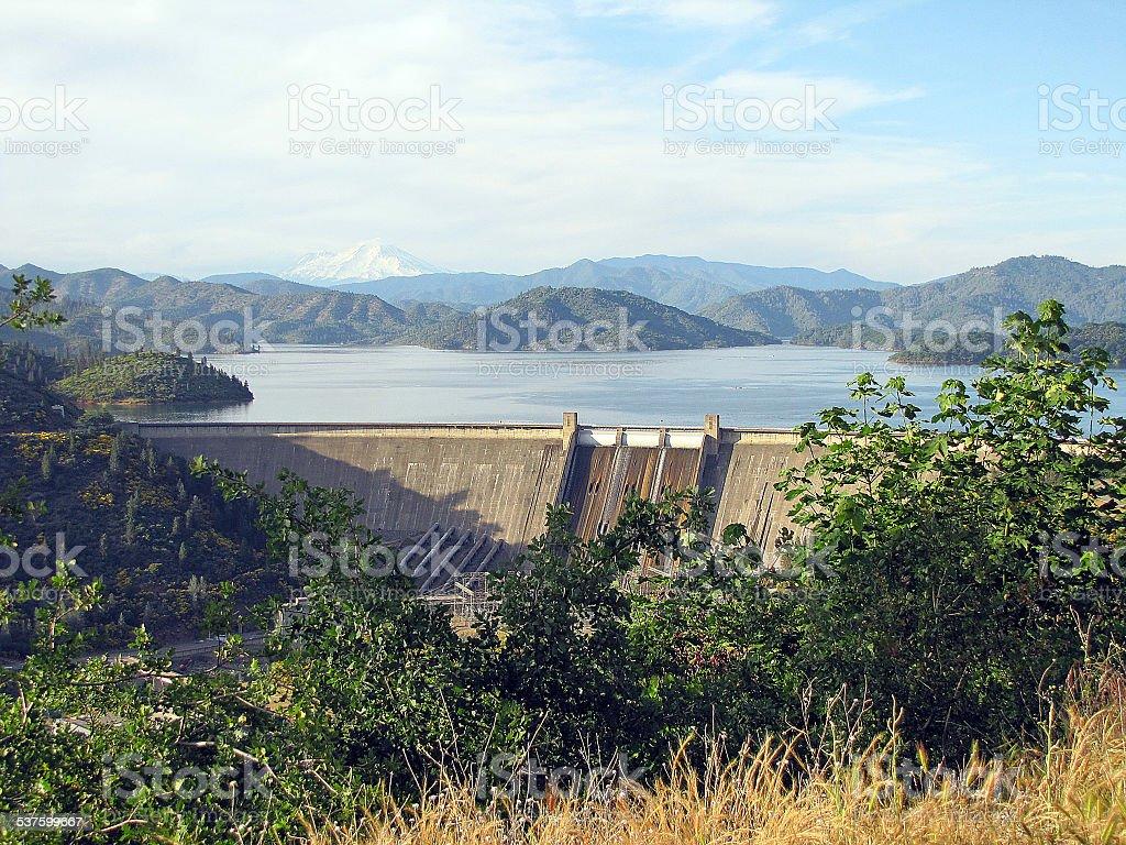 Three Shasta's Shasta Dam, Shasta Lake, Mount Shasta stock photo