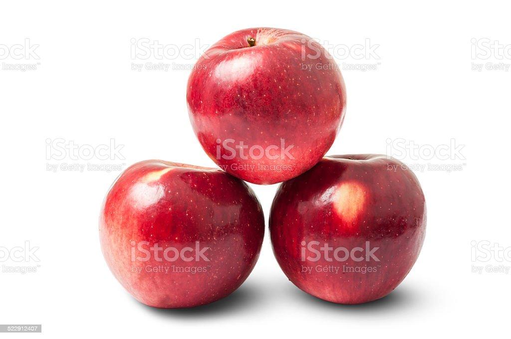 Three shiny red autumn apples stock photo