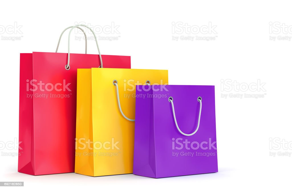 Three shopping bags on white background stock photo