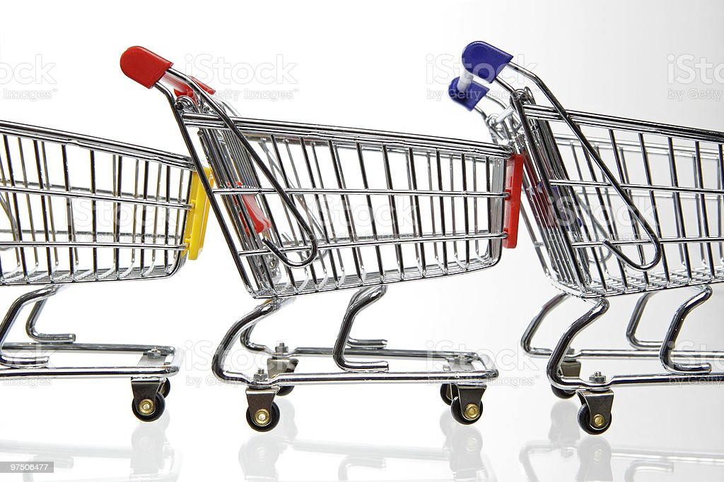 Three Shopping carts in a row royalty-free stock photo
