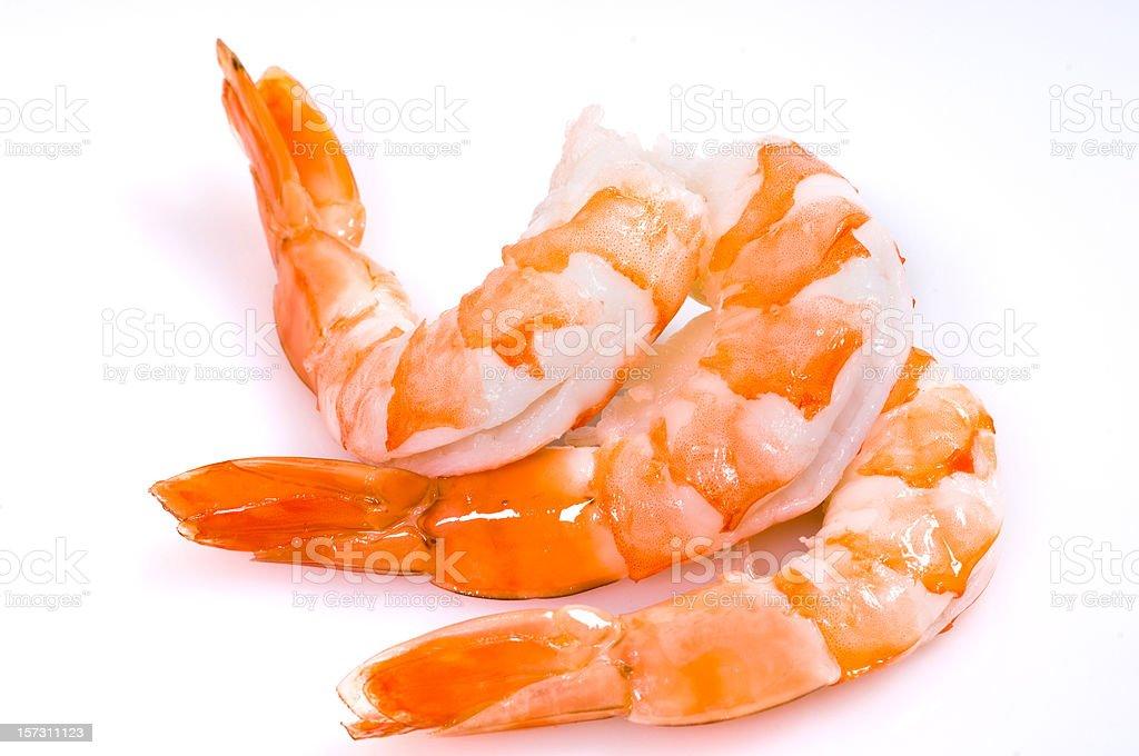 Three shrimps stock photo