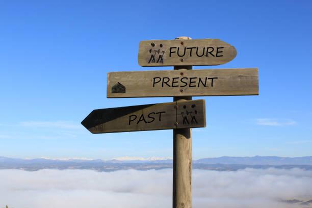 未来・現在・過去への道を示す3つの看板 - 過去 ストックフォトと画像
