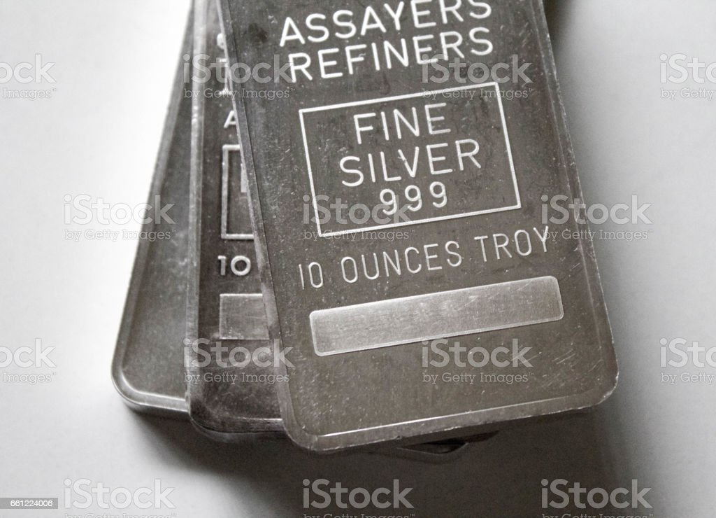 Three Silver Bars Stacked on Top of Each Other stock photo