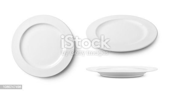 Three empty ceramic round plate isolated on white with clipping path.
