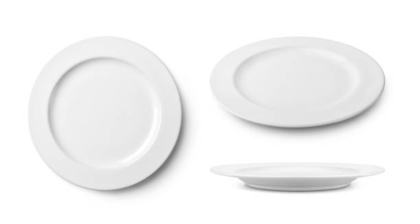 three simple white ceramic plate with clipping path. - plate stock pictures, royalty-free photos & images