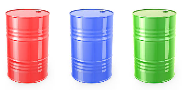 Three single barrels, red, green and blue stock photo