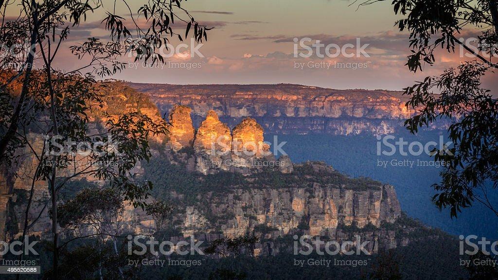 Three Sisters at sunset stock photo