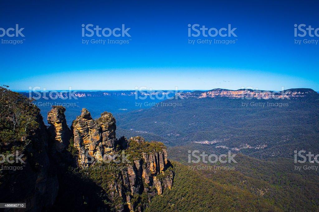 ブルーマウンテンのスリーシスターズオーストラリア国立公園 ロイヤリティフリーストックフォト