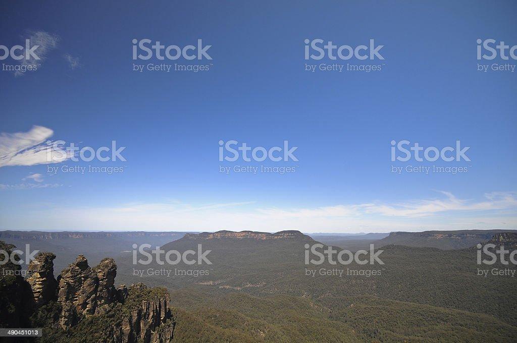 Three sisters famous rocks in Blue Mountain Sydney Australia stock photo