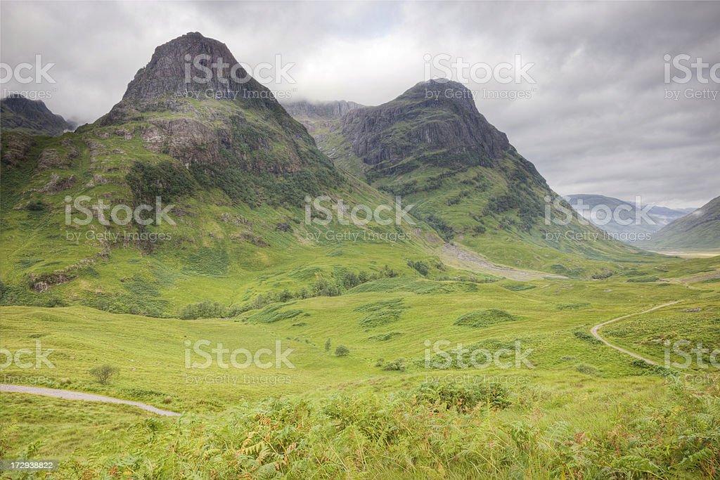 Three Sisters, Glencoe - Overcast Day royalty-free stock photo
